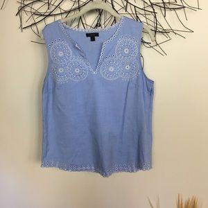 Blue boho j crew embroidered sleeveless blouse.
